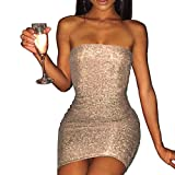 Euone Dress Clearance, Woman Prom Gown Sexy Summer Dress Strapless Pure Color Sequins Shine Point Sundress Club Swimming Pool Tight Fitting Dress Evening Party Mini Dresses