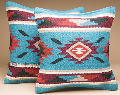 Southwestern Wool Throw Pillow Covers 18x18 - (PAIR) 2 Hand Woven Western Pattern for Native American Style and Rustic Cabin Decor (Navajo) by Mission Del Rey