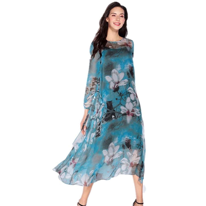 SHISHANG Frauen-zweiteilige Kleid aus 100% Seide lose um den Hals mit langen Ärmeln Sommer Farbe