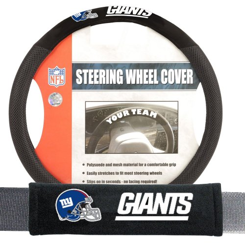 Fremont Die FMT-93175 New York Giants NFL Steering Wheel Cover and Seatbelt Pad Auto Deluxe Kit - 2 Pc (Nfl Automotive Fan Kit)