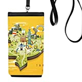 TaiPei Travel Map China Faux Leather Smartphone Hanging Purse Black Phone Wallet Gift
