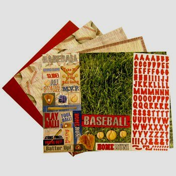 Baseball Page Kit, 12 x 12, Stickers, Papers, Alpha, Embellishments, 13 ()