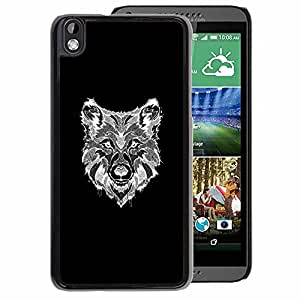 A-type Arte & diseño plástico duro Fundas Cover Cubre Hard Case Cover para HTC DESIRE 816 (Wolf Black White Canine Dog Drawing)
