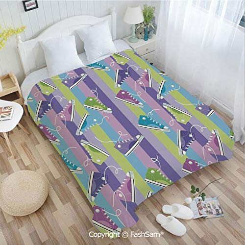 PUTIEN Unique Rectangular Flannel Blanket Different Colored Sneakers on Vertically Striped Backdrop Youth Footwear Fashion Blanket for Home(39Wx49L)