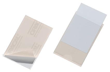 Durable 807919 - Fundas adhesivas para tarjetas de visita (57 x 90 mm, 10 unidades), transparente