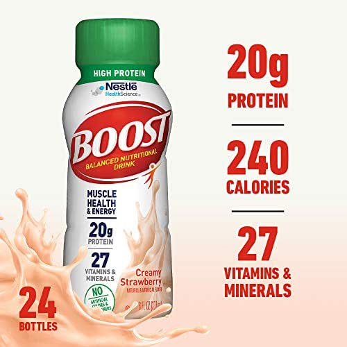 Boost High Protein Complete Nutritional Drink, Creamy Strawberry, 8 fl oz Bottle, 24 Pack (Packaging May Vary)