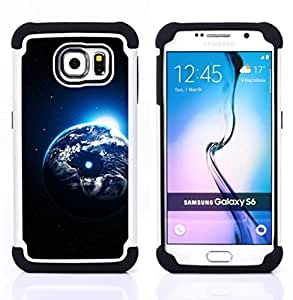 - earth planet universe cosmos moon art/ H??brido 3in1 Deluxe Impreso duro Soft Alto Impacto caja de la armadura Defender - SHIMIN CAO - For Samsung Galaxy S6 G9200