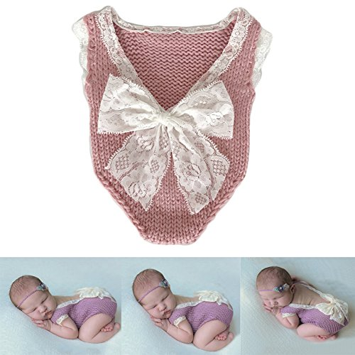 Baby Photography Props Girl Photo Shoot Outfits Newborn Crochet Costume Infant Knitted Clothes Rompers (Pink)