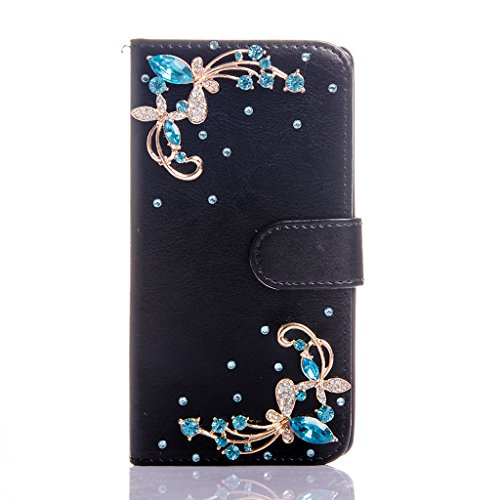 Nokia Lumia 830 Case, Everun Folio Style Handmade Case With Bling Crystal Jewel Diamond Synthetic Leather Wallet Case With Stand Function and 3 Credit Card Slots for Nokia Lumia 830