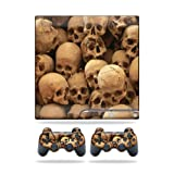 MightySkins Protective Vinyl Skin Decal Cover for Sony Playstation 3 PS3 Slim skins + 2 Controller skins Sticker Skull Pile