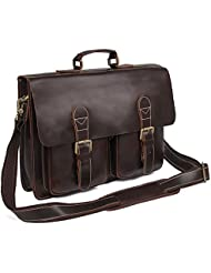 Augus Leather Messenger Bag Crossbody bag 15 inches Laptop Bag Briefcase