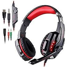 AFUNTA Auriculares Gaming para PS4, PC, Xbox One Controller, Auriculares con micrófono Que Cancela el Ruido Sobre el oído, luz LED, Auriculares envolventes Bajos-Negro + Rojo