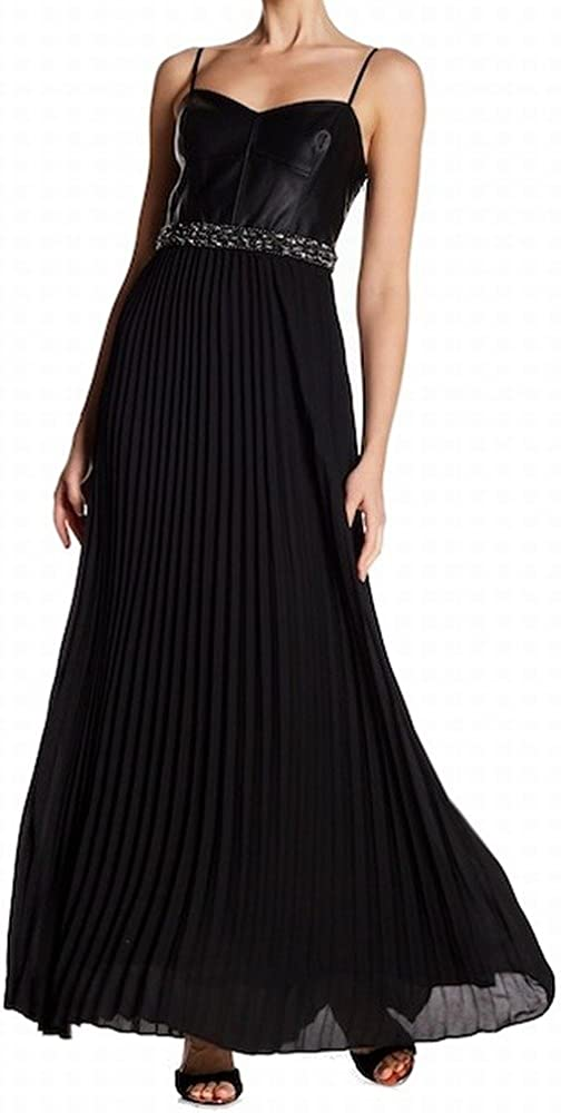 Laundry By Shelli Segal Women's Mixed-Media Pleated Gown