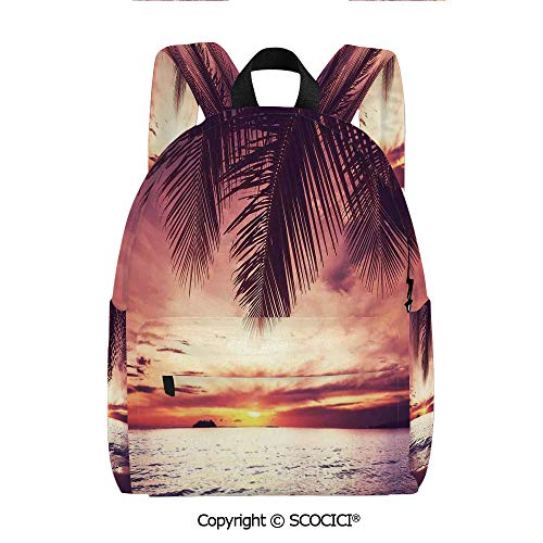 """SCOCICI Girls Fashion Printed Pattern Backpack (11.5""""×6""""×15""""),Tropical Beach under Shadow at Sunset Ocean Waves Serenity in Natural Paradise,One Size -  HongKong Fudan Investment Co., Limited, wly68-sjb-005-190718-05908_11.5x6x15in"""