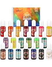 MENNO Kleur Pigment, (20 x 10 ml) vloeibare Epoxy Pigment Hars Kleurstof Epoxyharsverf Zeepkleurstof Resin Kleurstof voor Epoxyhars, Zeep, Badbom, Kaars, Nagellak, Slijm, Sieraden DIY, Handwerk