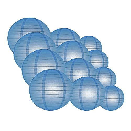 Quasimoon EVP-BB-CP12 12pcs Pack (12/10/8 Inch) Paper Lanterns Even Ribbing, Astra Blue, 12 Piece Set by Quasimoon