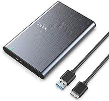 ARIOUE USB 3.0 Festplattengehäuse 2,5 Zoll USB 3.0 Externes Gehäuse für SSD und HDD in Höhe 9.5mm/7mm UASP unterstützt,...