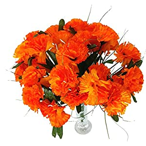 MM TJ Products 4 Artificial Carnation Bouquet, 28 Fake Carnations Heads with Vase (Orange) 76