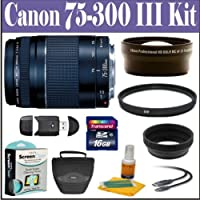 Canon EF 75-300mm f/4-5.6 III Telephoto Zoom Lens Accessory Kit For Canon EOS Rebel XS, XSi, T1i, T2i, T3, T3i, T4i & EOS 60D