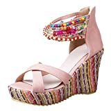VANSOON Women's Wedge Sandals Beaded Pearls Across The Top Platform Sandals Colorful Bohemian Style High Heels Pink