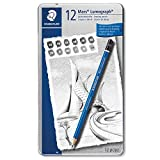 Office Products : STAEDTLER premium quality drawing pencil, Mars Lumograph, graphite pencil set in metal tin, break-resistant super-bonded lead, design set of 12 degrees, 100 G12