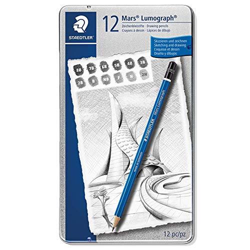 STAEDTLER premium quality drawing pencil, Mars Lumograph, graphite pencil set in metal tin, break-resistant super-bonded lead, design set of 12 degrees, 100 G12