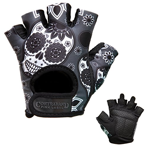 Contraband Pink Label 5237 Womens Design Series Sugar Skull Lifting Gloves (Pair) - Lightweight Vegan Medium Padded Microfiber Amara Leather w/Griplock Silicone (Gray, Medium)
