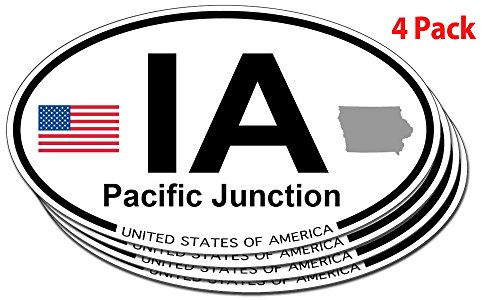 Pacific Junction, Iowa Oval Sticker - 4 pack