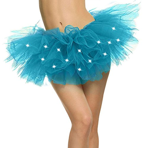 Adult Tutu Women's LED Light Up Neon Tulle Tutu Skirt for Club Party, Sky blue]()