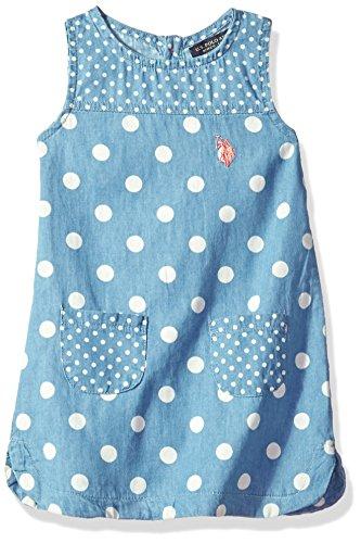 Kids Medium Wash - U.S. Polo Assn. Little Girls' Casual Dress, Polka Dot Tank Shift Medium Wash, 6
