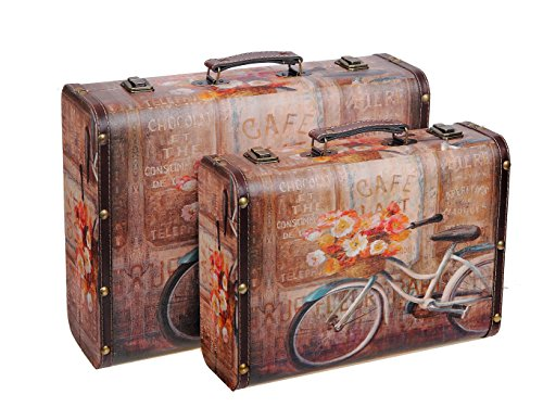 Indian Handicrafts Bicycle Themed Mini Suitcases, Set of 2