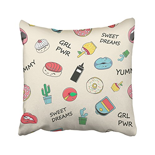 Emvency Decorative Throw Pillow Covers Cases Teenage Patch in Pastel Colors Lips Donuts Cacti Quote on The Youth Stickers 80S 90S 16x16 inches Pillowcases Case Cover Cushion Two Sided -