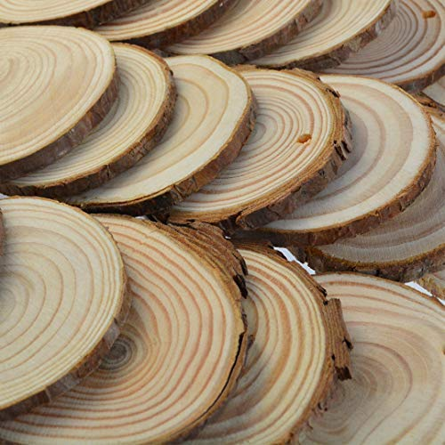50 Pcs Natural Wood Slices Unfinished Predrilled Round Discs Hole Wooden Circles with 40 Feet Natural Jute Twine 2.4