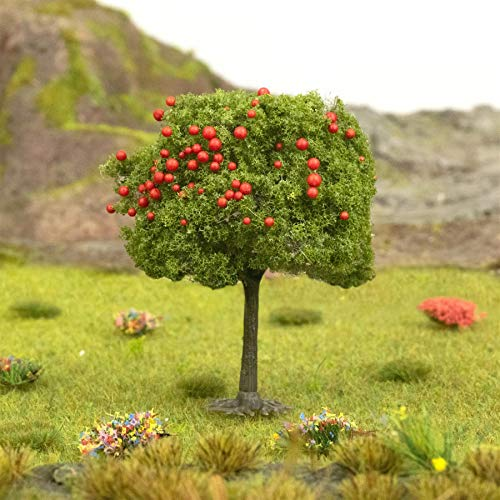 War World Scenics Apple Tree with Red Fruits 55mm Mid Green (Choose Quantity) - OO Gauge Scale Scenery Terrain Landscape Model Railways Layout Forest Wargame