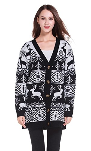 Womens Oversized Christmas Reindeer Cardigan (X-Large, Black Reindeer Cardigan)