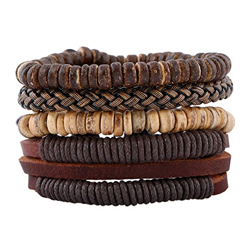 Soleebee Unisex Punk Retro PU Leather Hemp Cords Multi-Stands Wristband with Beads Pure Handmade Bracelets Set of 4 (Style 11)