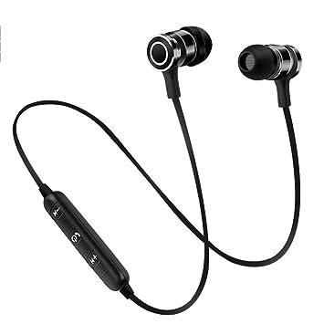LKJCZ Corbatas Deportes Auricular Bluetooth, Luz Micrófono Magnético Inalámbrico Anti-Sudor Deportes Reducción De