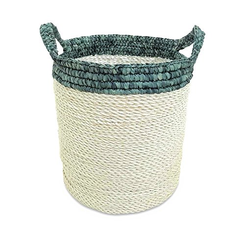 Cod Cape Baskets - WHW Whole House Worlds Cape Cod Blue and White Wicker Bucket Basket, Shabby Faded Soft Polyester Tops and Handles, 13 Diameter, 14 Inches Tall