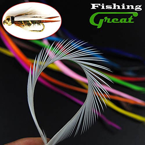 Greatfishing 12 Color/Set 48pc Goose Bios Feather Fly Tying Material Beadhead Prince Nymph Tail Wing Case Stone Nymph Midge Streamer Flies