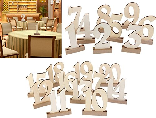 Wooden Wedding Table Numbers 1-20 by BestOffer | Wood Table Numbers with Holders Heavy Duty 20pcs Set for Party Birthday Banquet Catering Wedding Events Table Number Centerpiece by Bestoffer (Image #1)