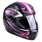 Typhoon Women's Full Face Motorcycle Helmet DOT (Matte Pink, Medium)