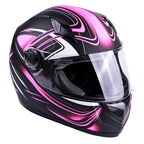 Womens Bike Helmets Street - Typhoon Women's Full Face Motorcycle Helmet DOT (Matte Pink, Large)