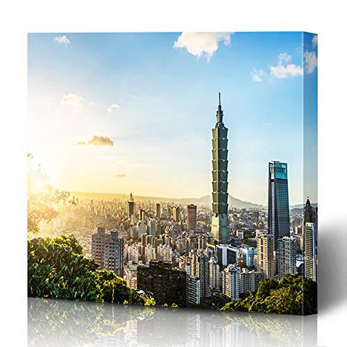 (Ahawoso Canvas Print Wall Art 16x16 Inch Taipei Taiwan Oct Known World Financial Center is Skyscraper Tower Modern Artwork Printing Home Decor Wrapp Gallery Painting)
