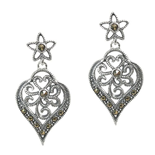 Sterling Silver Marcasite Natural (Sterling Silver Natural Marcasite Filigree Flower Leaf Stud Post Dangle Earrings)
