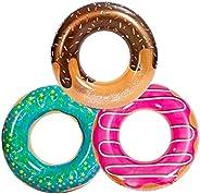 JOYIN Donut Flotador de piscina con purpurina de 82,5 cm (paquete de 3), divertidos juguetes de tubo de piscin
