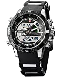 SHARK Men's Military Sport Wrist Watch Alarm/ LCD/ Dual Time/ Chronograph Black Army SH042