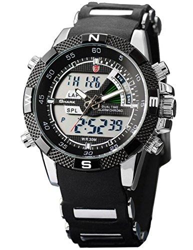 Shark Men's Military Sport Digital Wrist Watch Alarm LCD Dual Movement Day Date Stopwatch Black SH042 by SharkNinja