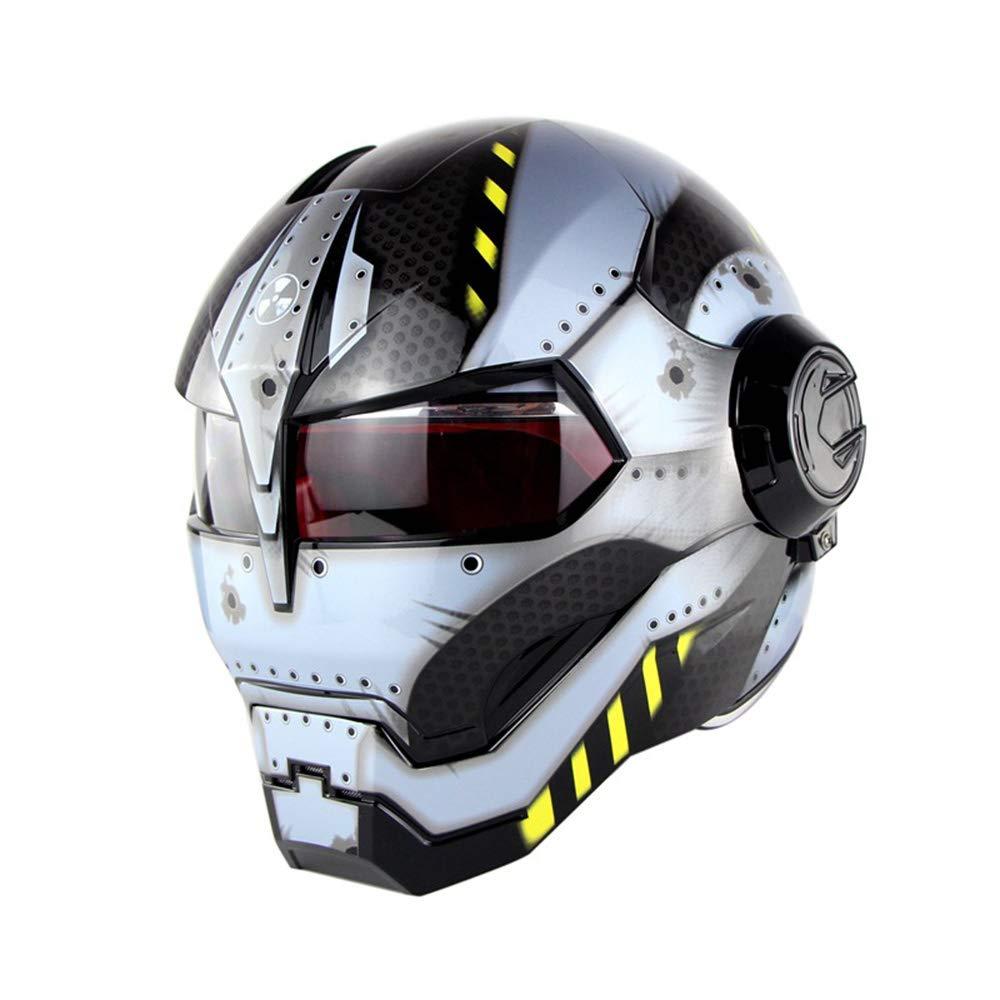 CFYBAO Retro Harley Unveiled Helm Persönlichkeit Motocross Helm Motorcycle Iron Man Transformers Fullface Helm für Mann und Frau