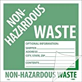 National Marker Corp. HW5SL100 Self-Laminating Labels, Non-Hazardous Waste, 6 Inch X 6 Inch, PS Vinyl, Bx100