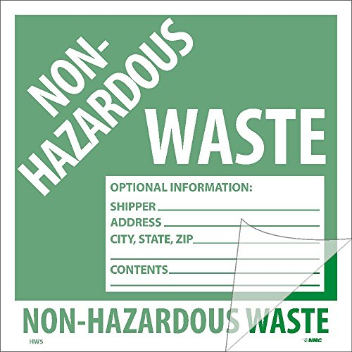National Marker Corp. HW5SL100 Self-Laminating Labels, Non-Hazardous Waste, 6 Inch X 6 Inch, PS Vinyl, Bx100 by National Marker